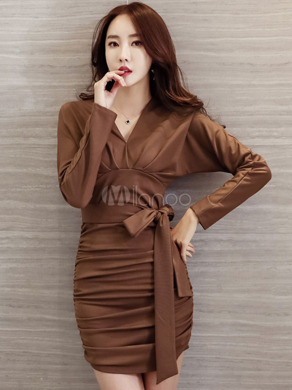 Women Bodycon Dress V Neck Long Sleeve Ruched Cotton Brown Dress