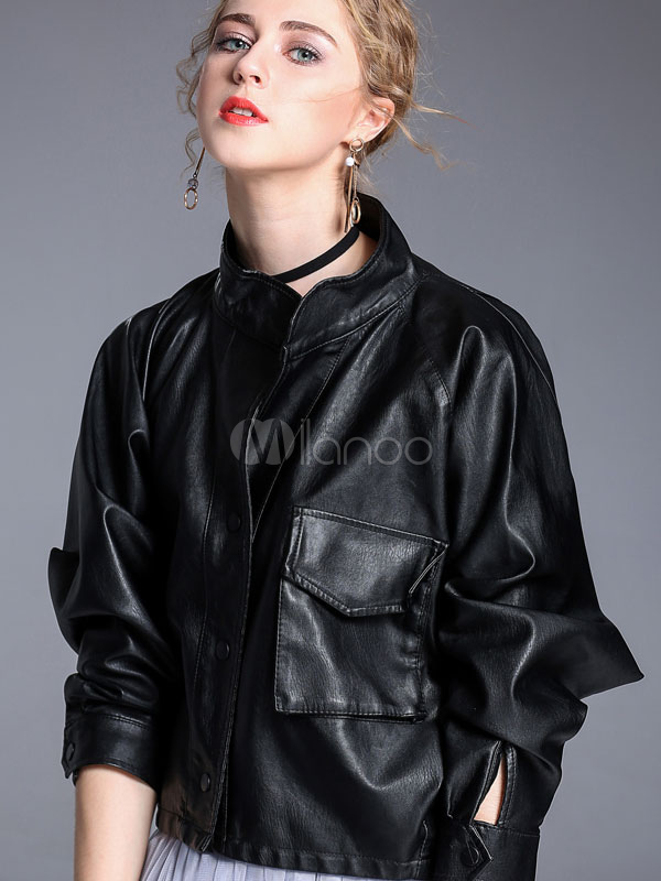 Buy Women Black Jacket Long Sleeve Stand Collar Button Buckled PU Leather Biker Jacket for $44.09 in Milanoo store