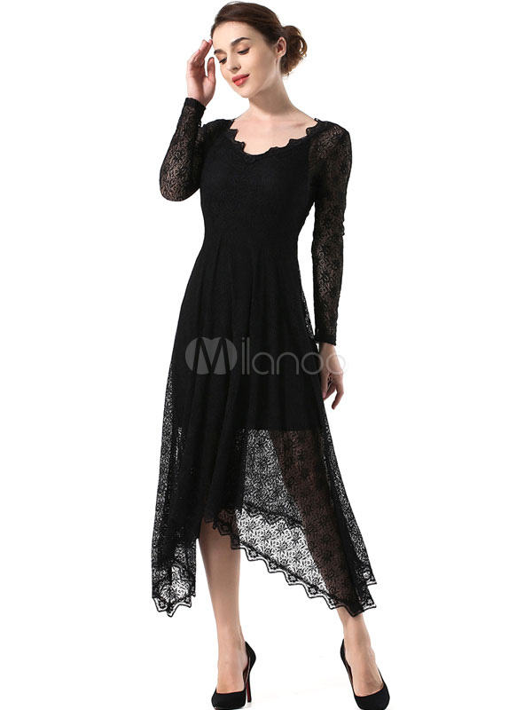 Buy Black Lace Dress Women Maxi Dress V Neck Long Sleeve Pleated Long Dress for $27.99 in Milanoo store