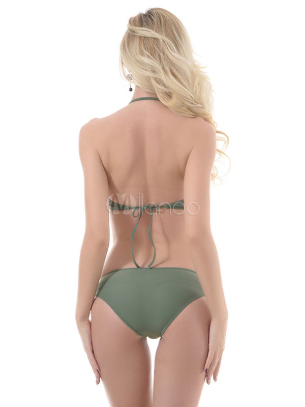 4cec5a66f9fef ... Two Piece Bikini Swimsuit Halter Strappy Hunter Green Bralette Sexy  Bathing Suit For Women-No