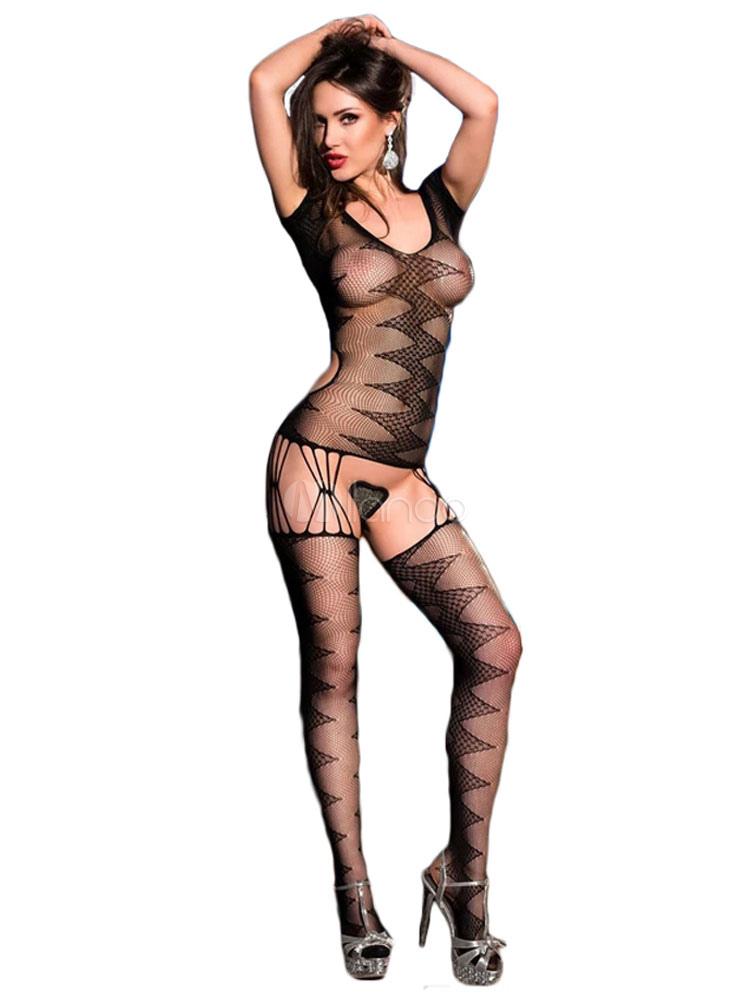 c598ef730 Women Sexy Bodystocking Black Net Sheer Nylon Zigzag Pattern Lingerie-No.1  ...