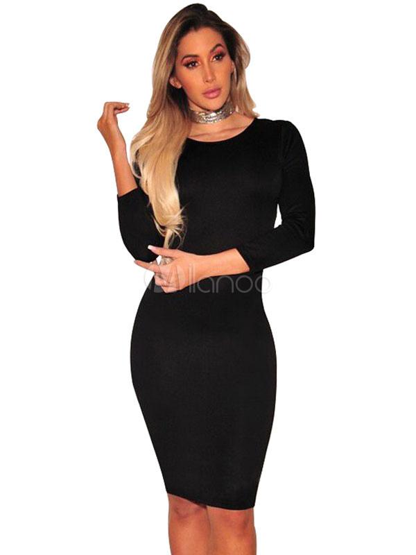 Vestido De Club Negro Sin Mangas Corte Largo Sin Espalda Vestido De Lápiz Atractivo Para Las Mujeres