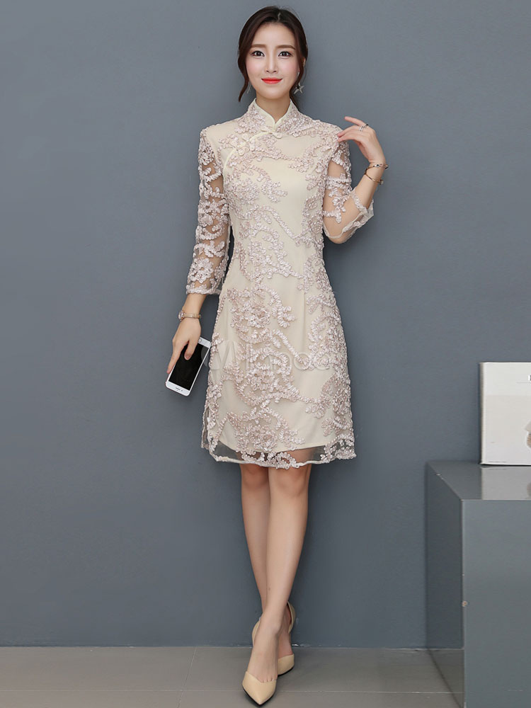Women Bodycon Dress Cheongsam Apricot Stand Collar Three Quarter Sleeve Embroidered Sheath Dress