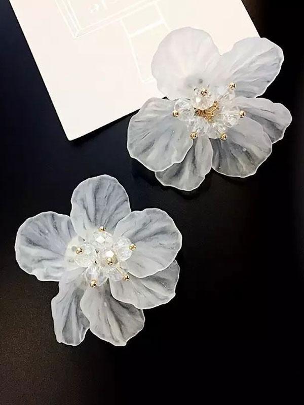 Women Stud Earrings White Flower Alloy Earrings