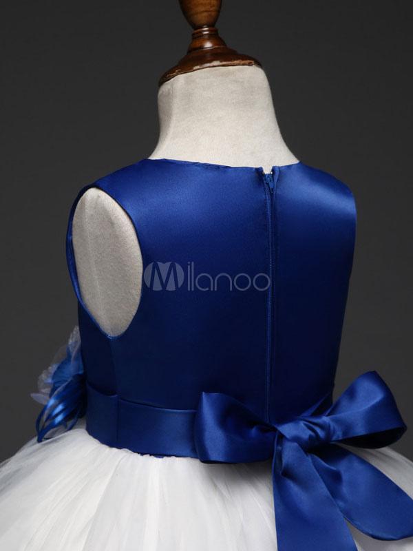 Blaues Blumen-Mädchen kleidet Kurzschluss-Ballettröckchen-Kleid ...