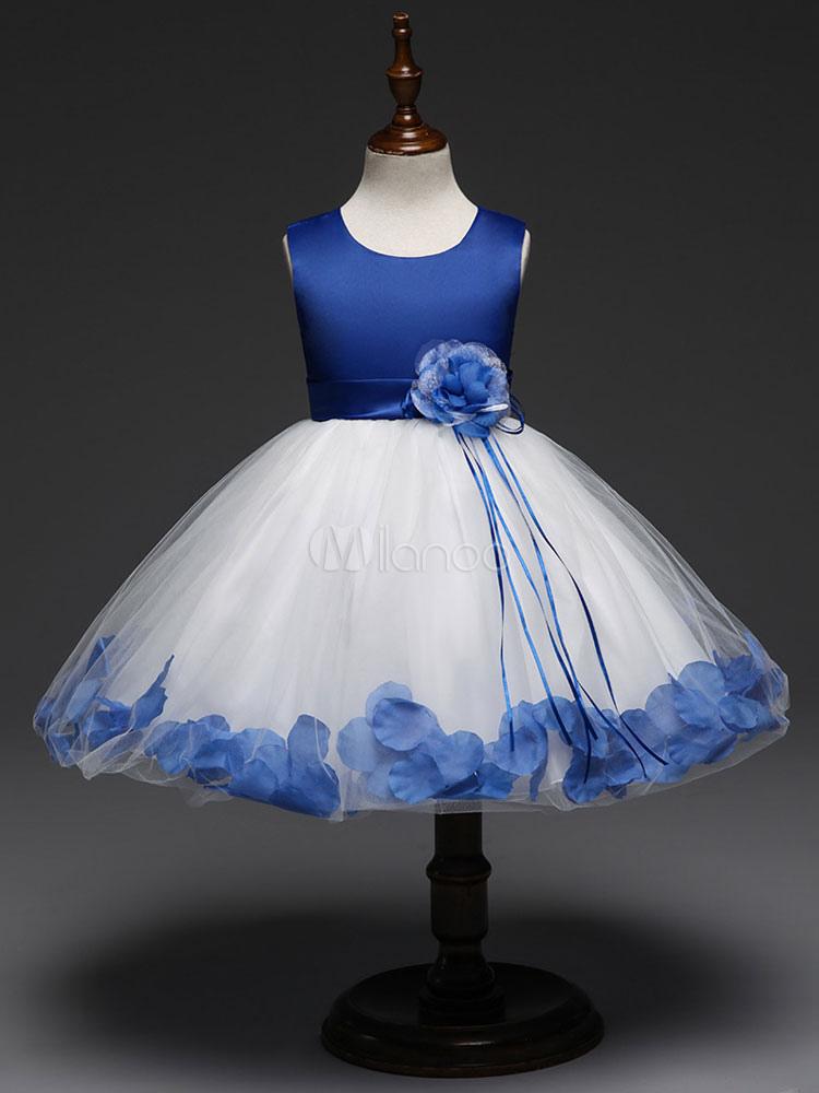 Blue Flower Girl Dresses Short Tutu Dress Kids Satin Tulle Sash Sleeveless Party Dresses