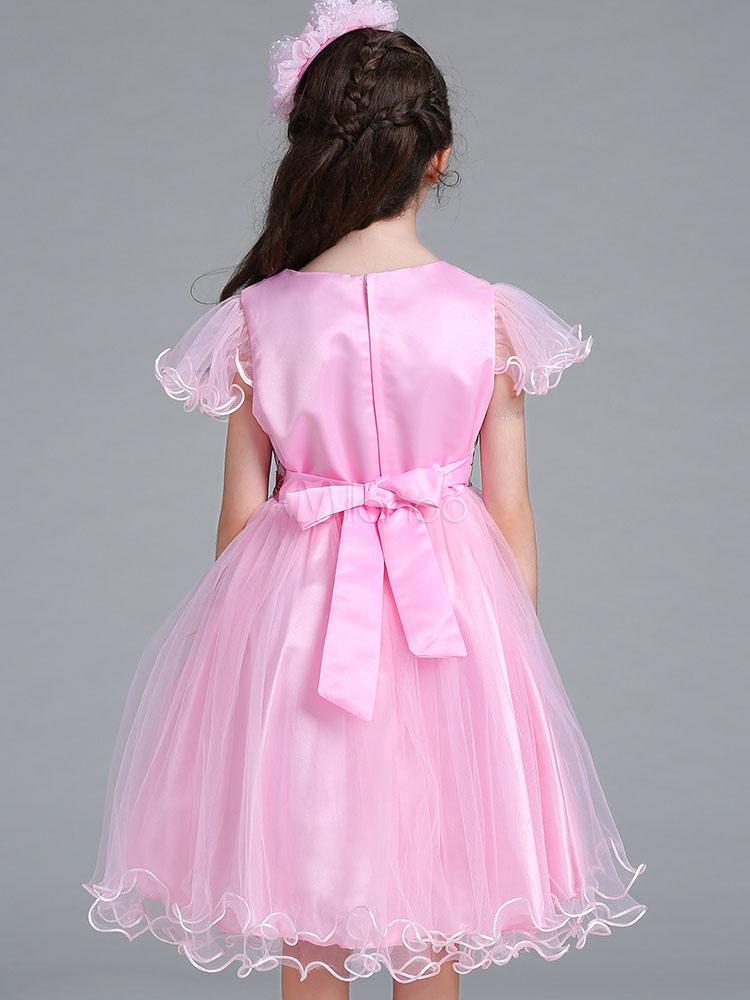 Rosa Blumenmädchen Kleider Kurzarm Festzug Kleid Schmetterling ...