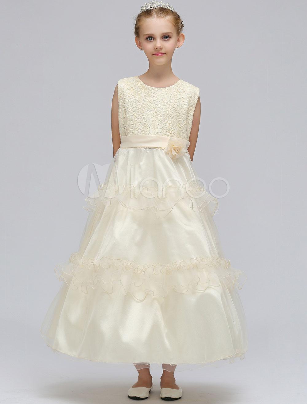 Blumenmädchen Kleider Champagner Kinder Prinzessin Kleid Spitze ...