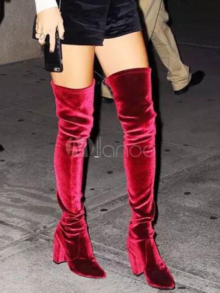 Botas sobre la rodilla de terciopelo de color borgoña Color liso estilo moderno fW76JHe
