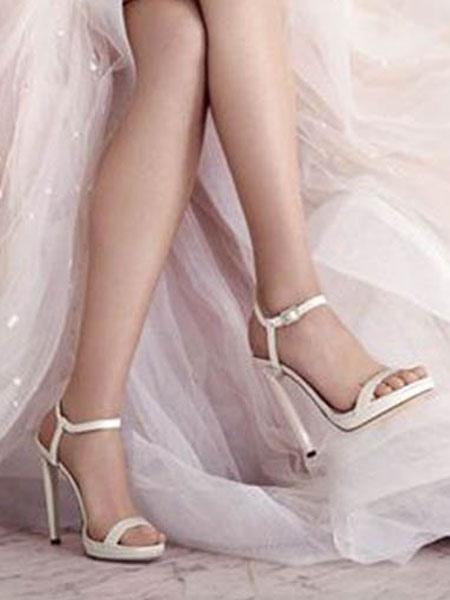 High Heel Sandals Women Dress Shoes White Open Toe Buckle Detail Sandal Shoes