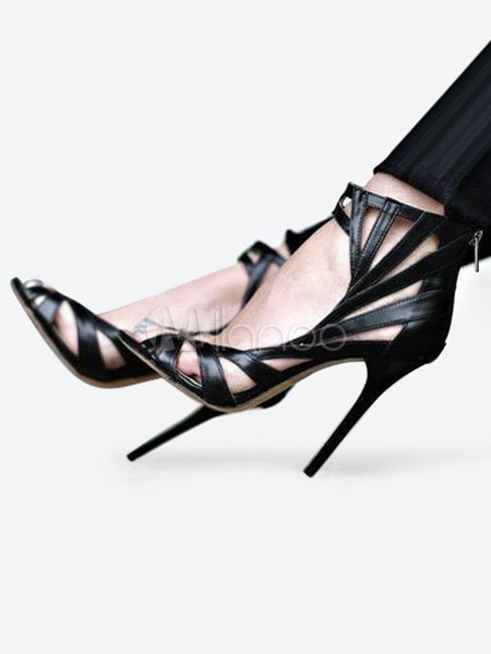 Buy High Heel Sandals Black Peep Toe Cut Out Ankle Strap Sandal Shoes Women Shoes for $57.59 in Milanoo store