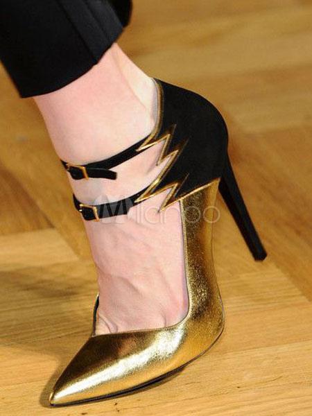 zapatos de baile con tacones altos de color oro de mujer zapatos dedos señados con detalles de hebilla e6tNL0su