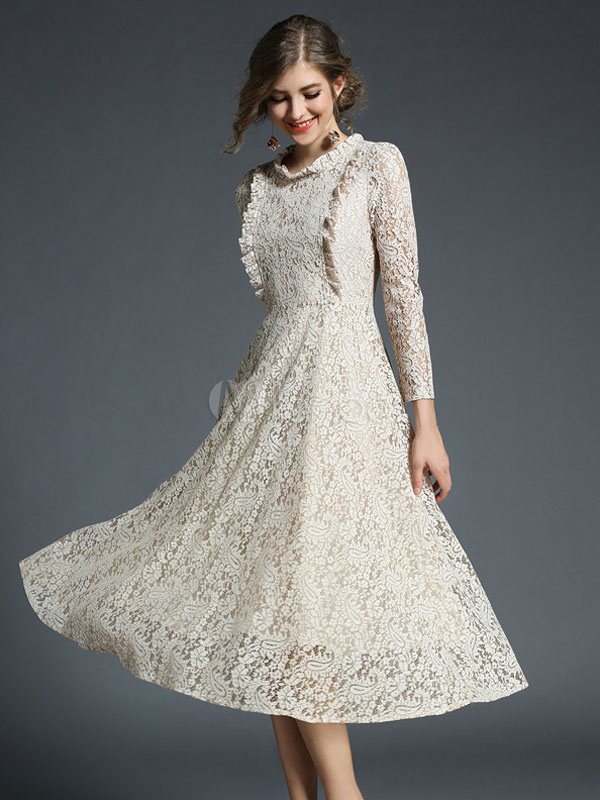 Buy Women Lace Dress White Vintage Long Sleeve Ruffles Crewneck Spring Long Dress for $34.39 in Milanoo store