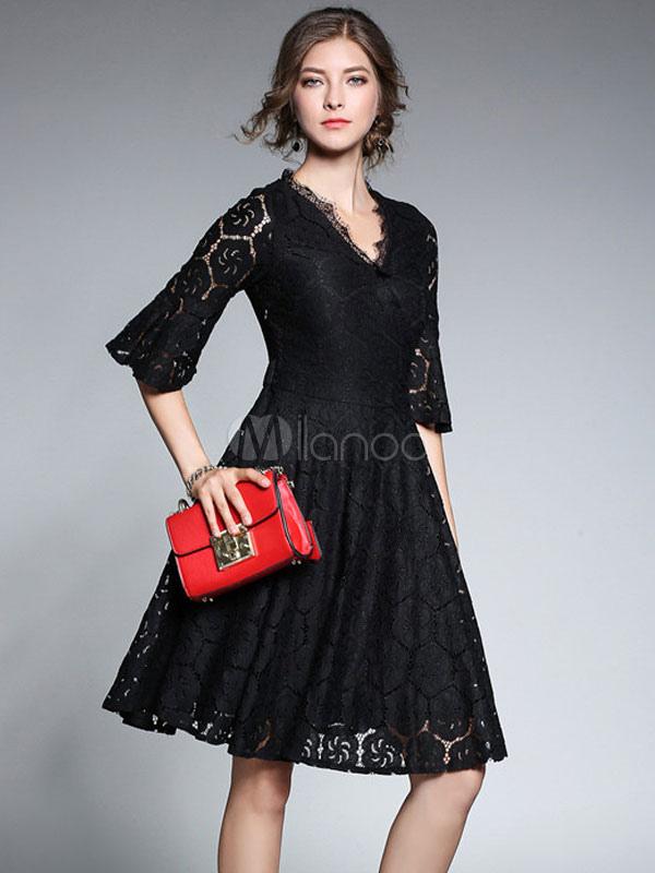 buy online 520f6 c4e3a Abiti in pizzo con scollo a V mezze maniche abbigliamento giornaliero neri  abito monocolore Autunno affascinanti fuori donna di pizzo