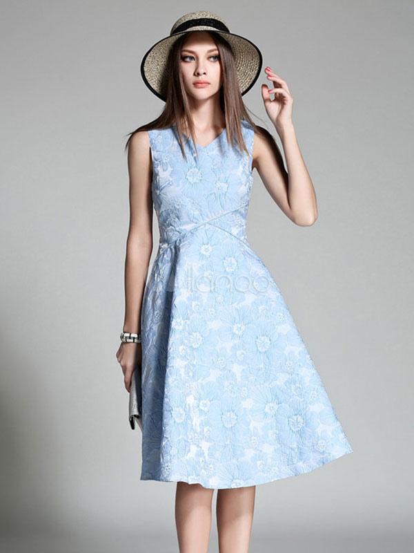 Women Skater Dress V Neck Sleeveless Jacquard Blue Summer Midi Dress-No.1  ... 0c614de08