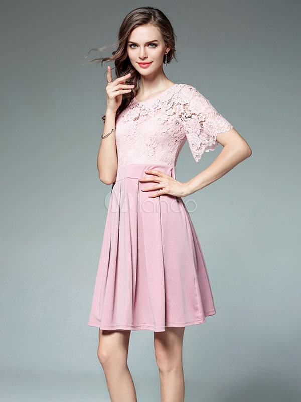 Buy Pink Skater Dress Lace Illusion Neck Short Sleeve Pleated Flare Dress Women Short Dress for $37.99 in Milanoo store