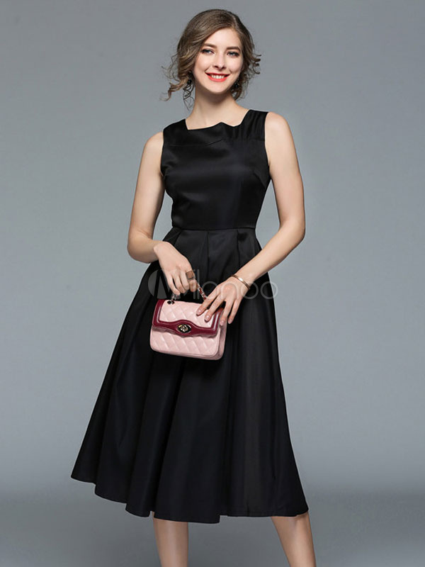 a877bf12ab1 Black Vintage Dress Sleeveless Square Neck Women Summer Midi Dress-No.1 ...