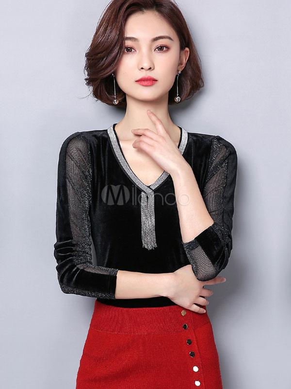 Women Black Blouses V Neck Long Sleeve Tulle Semi Sheer Spring Top