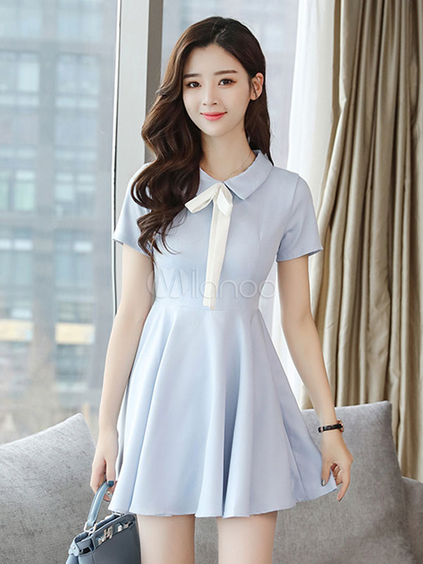 Women Skater Dress Light Blue Turndown Collar Short Sleeve Bow Pleated Short Dress Flare Dress