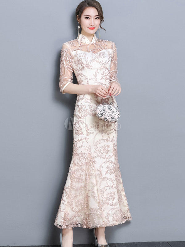 Buy Women Long Dress Half Sleeve Semi Sheer Lace Dress Champagne Stand Collar Maxi Dress for $47.49 in Milanoo store