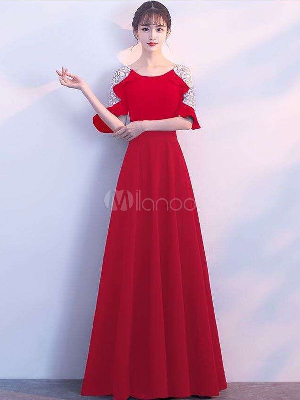 Buy Red Maxi Dress Women Formal Dress Round Neck Half Sleeve Pleated Long Dress for $32.39 in Milanoo store