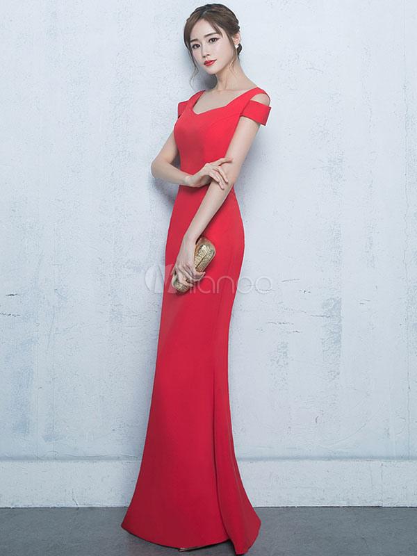 Red Maxi Kleid Cold Shoulder Slim Fit Baumwolle Party Kleid Frauen ...