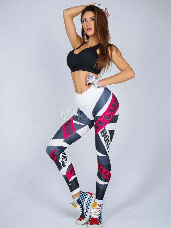 Buy Women Gym Leggings Printed Skinny Elastic Waist Yoga Leggings for $18.89 in Milanoo store