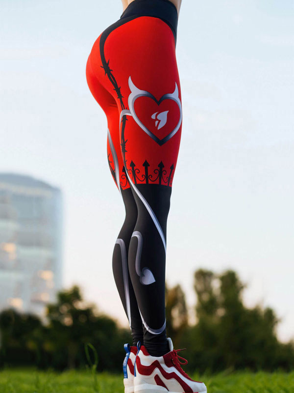 Buy Women Skinny Leggings Printed Elastic Waist Sport Leggings for $17.09 in Milanoo store