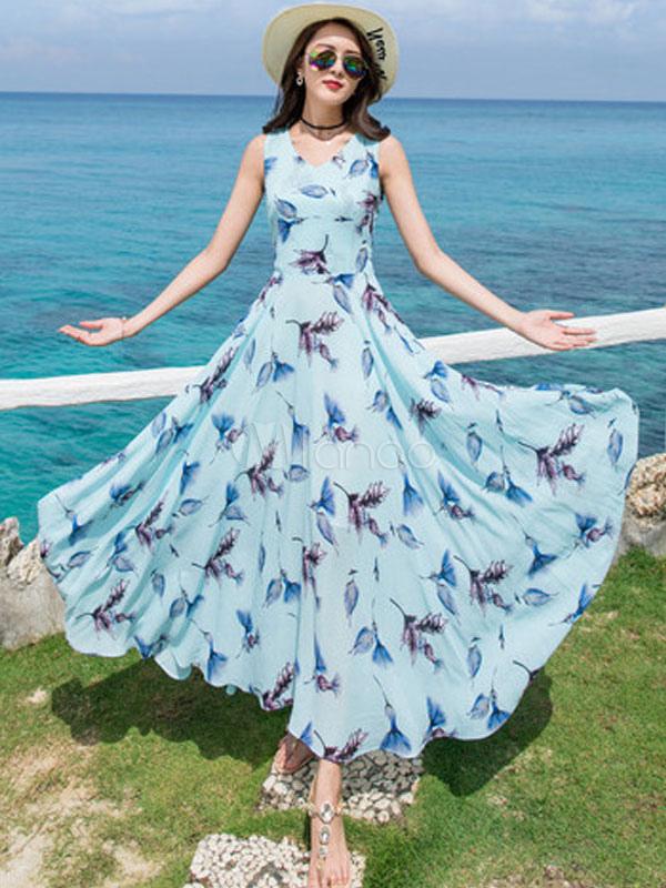 Buy Blue Maxi Dress Chiffon Dress V Neck Sleeveless Printed Long Beach Dress For Women for $33.24 in Milanoo store
