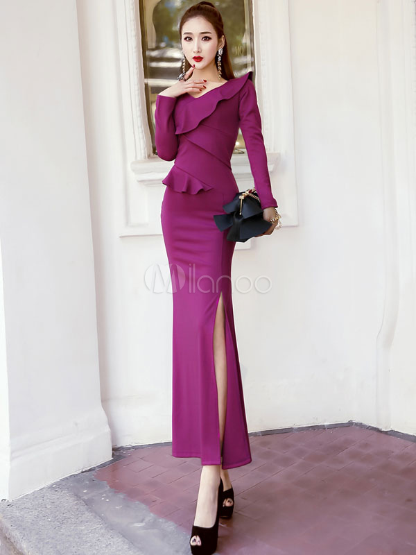 Buy Purple Formal Dress Women Maxi Dress V Neck Long Sleeve Ruffle Slit Slim Fit Evening Dress for $33.24 in Milanoo store