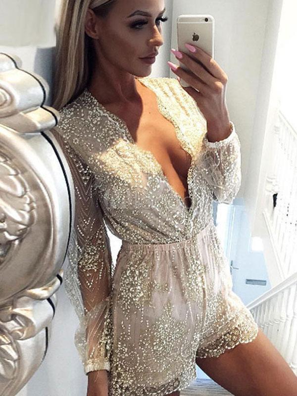 18ce56724 ... Macacão curto feminino 2019 com mangas curtas douradas em tule  brilhante-No.2 ...