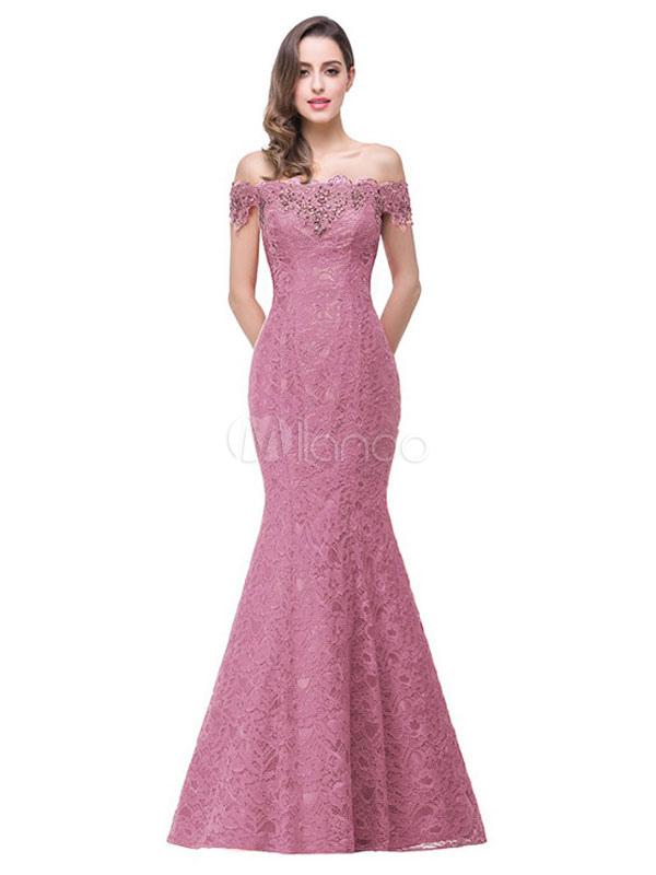 Maxi Lace Dress Off The Shoulder Slim Fit rojo vestido de fiesta ...
