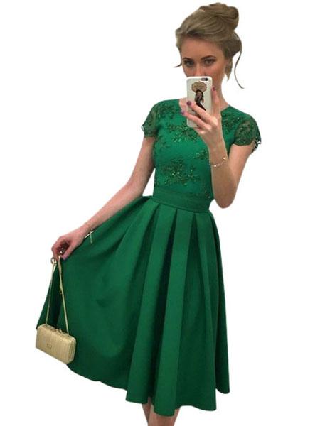 Buy Women Skater Dress Green Round Neck Short Sleeve Pleated Flare Dress Formal Dress for $33.24 in Milanoo store