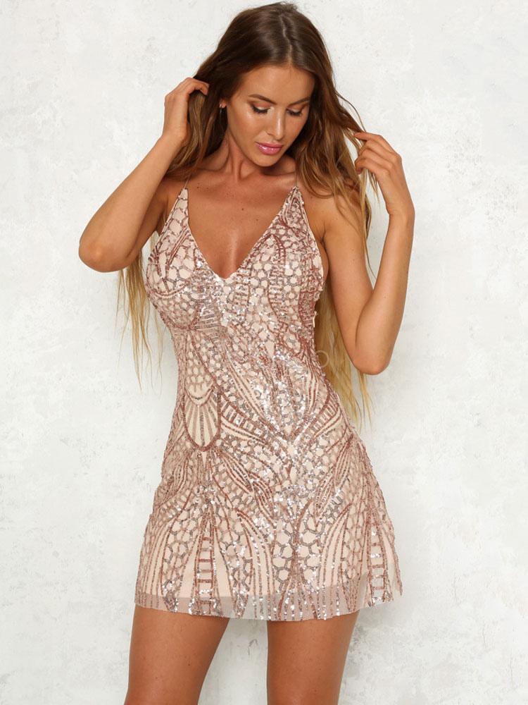 359a296726c2 Sexy Mini vestido sin espalda correas de espagueti Glitter mujeres vestido  corto de verano rojo