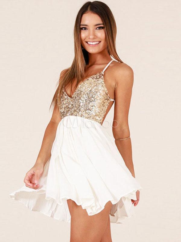 promo code 9ffa4 ff757 Sexy Skater Kleid Backless Glitter Spaghetti Straps Sommer Weiß Minikleid  für Frauen