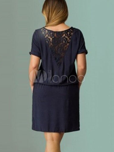 Tunic Dresses Plus Size Womens Dresses Lace Short Sleeve Round Neck  Drawstring Dark Navy Summer Dresses