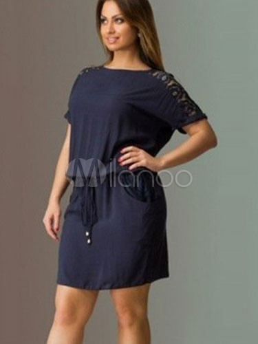 Tunic Dresses Plus Size Womens Dresses Lace Short Sleeve Round Neck Drawstring Dark Navy Summer Dresses