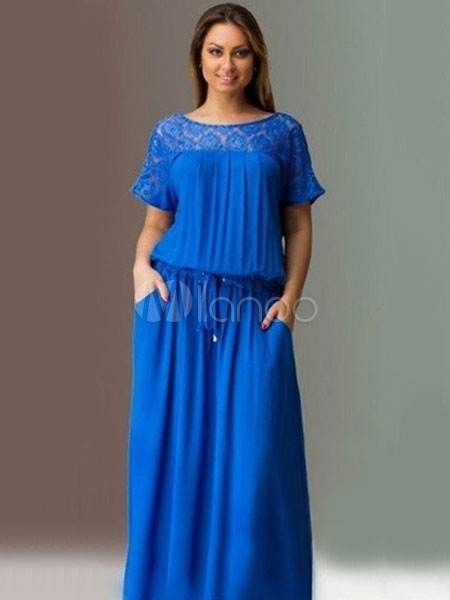 Buy Plus Size Maxi Dresses Short Sleeve Lace Patchwork Dark Navy Summer Tunic Long Dresses For Women for $28.49 in Milanoo store