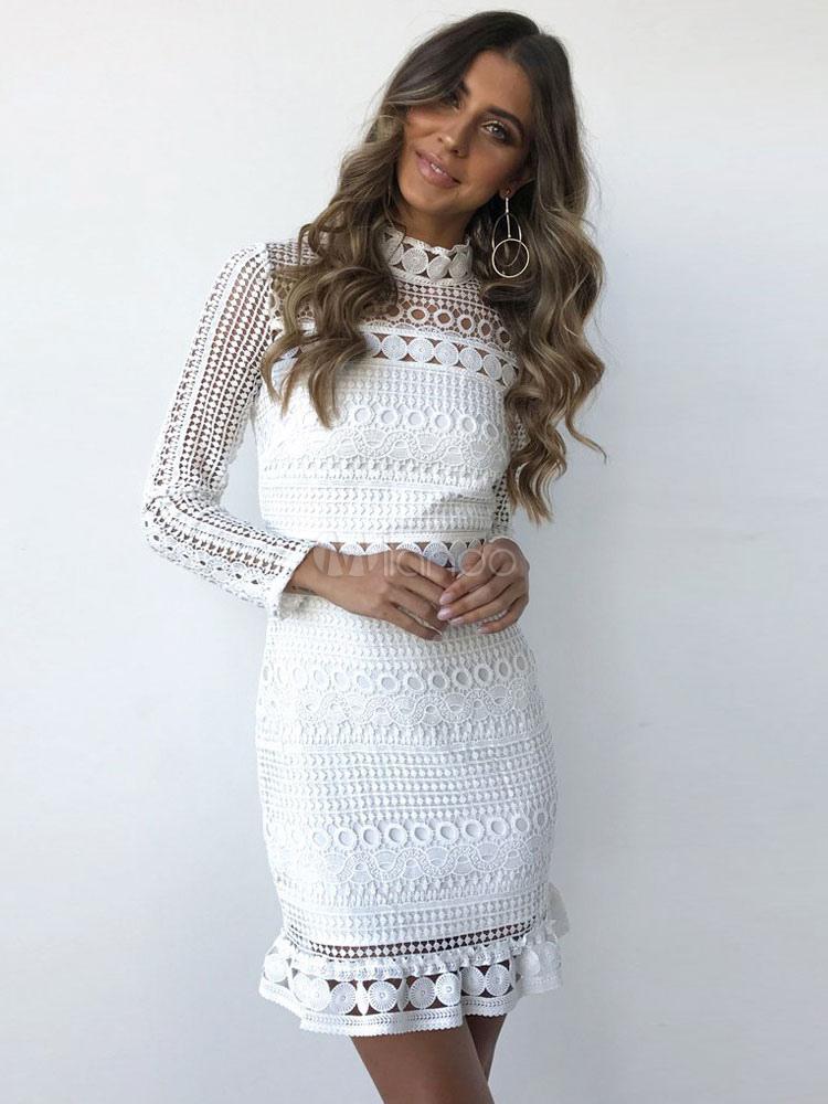 White Pencil Dress Cut Out High Collar Long Sleeve Women Summer Mini Dress