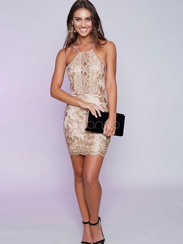 19088b5664e4 ... Sexy Bodycon Dress Backless Embroidered Spaghetti Straps Light Gold  Summer Mini Dress For Women-No ...