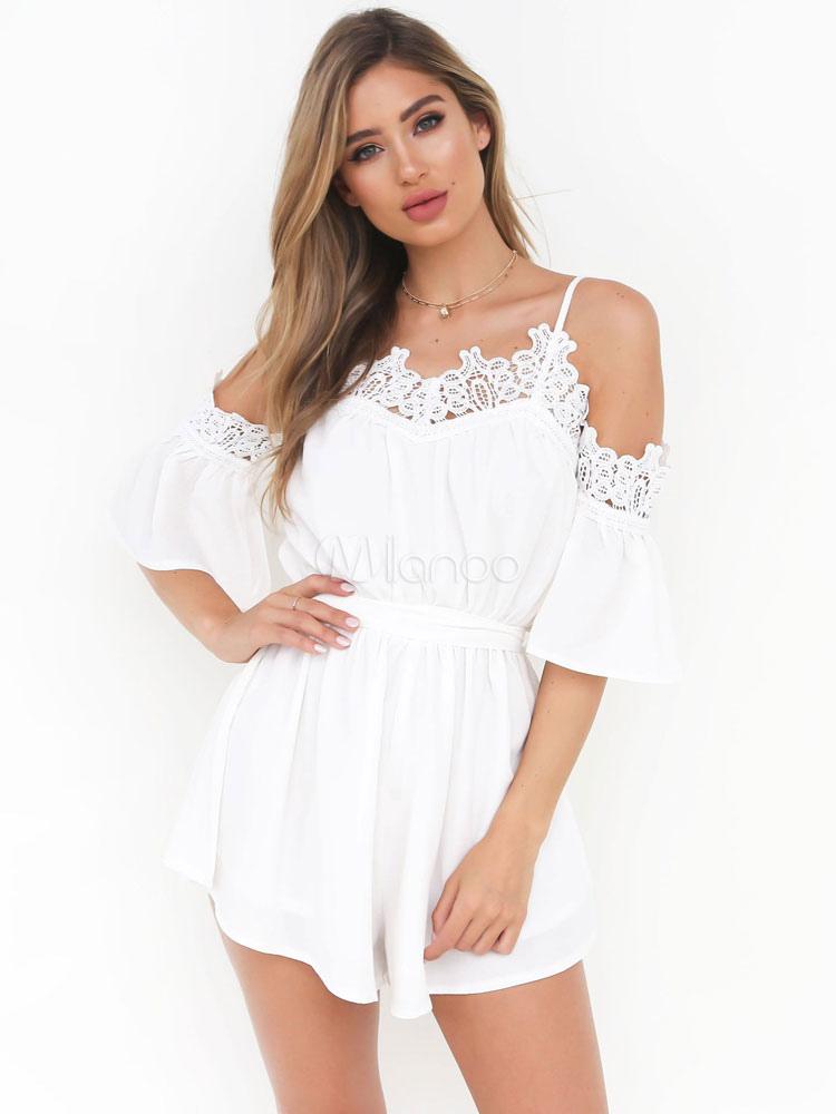Women Chiffon Romper Half Sleeve Low Back Lace White Summer Playsuit