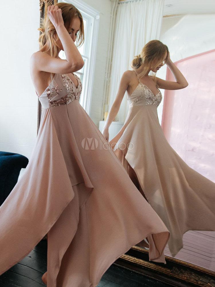 Pink Maxi Dress Women Strappy Sleeveless Irregular Long Dress Sequined Formal Dress