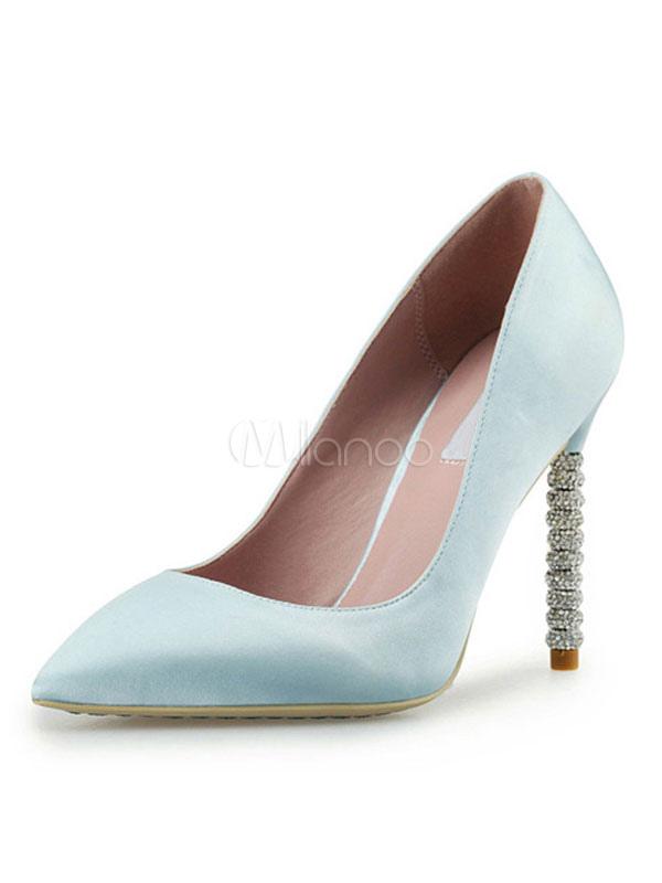 Zapatos de novia Zapatos de tacón alto de tacón de stiletto de puntera puntiaguada de satén con pedrería elegantes reuqp1