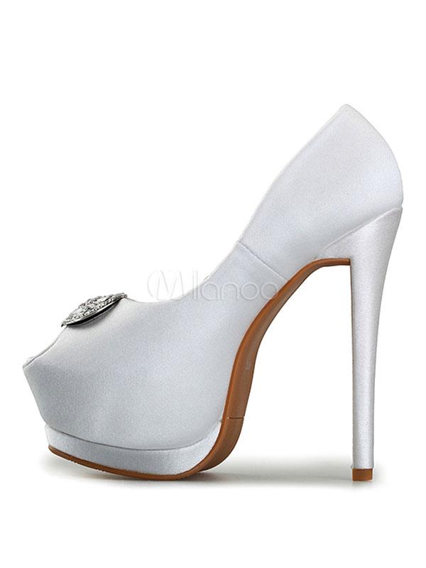Zapatos de novia Zapatos de tacón alto de tacón de stiletto de punter Peep Toe de satén con pedrería estilo moderno HZep04