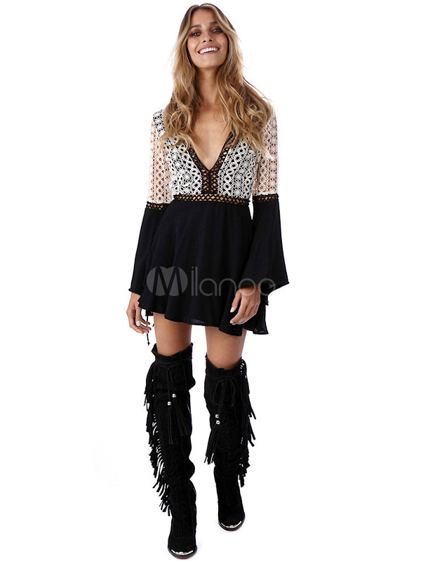 Sexy Skater Dress Boho Bell Sleeve Lace Patchwork V Neck
