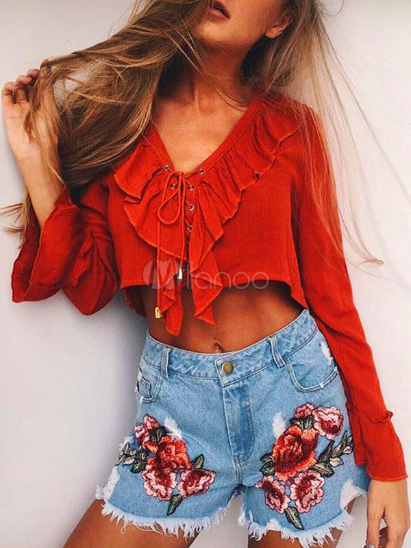 Women Orange Top V Neck Flared Long Sleeve Spring Top Ruffle Cropped Top
