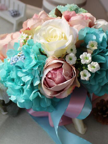 Blue Wedding Bouquet Flower Silk Ribbons Multicolor Bridal Cascading Bouquets