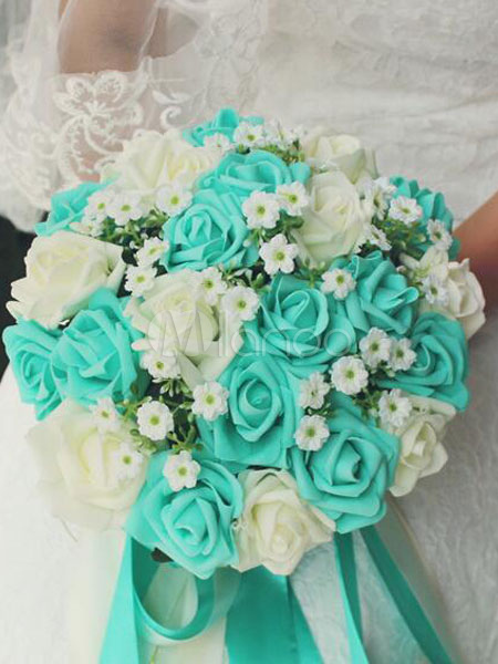 Wedding Flower Bouquet Mint Green Silk Ribbons Bridal Bouquets