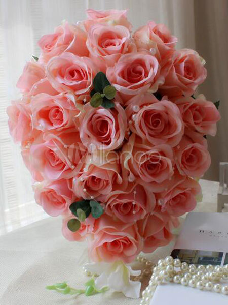 Buy Flower Wedding Bouquet Cascading Silk Ribbons Bridal Bouquets for $50.34 in Milanoo store