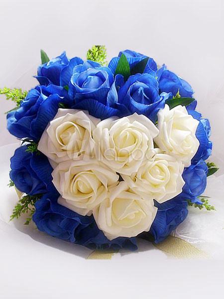 Bouquet Sposa Rotondo.Bouquet Da Sposa Fiori Per Il Matrimonio Matrimonio Blu Rosso Rotondo Fiori Di Seta